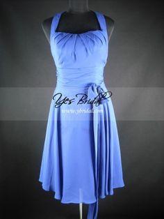 A-line Halter Knee-length Chiffon Evening Bridesmaids Dress SAL0048