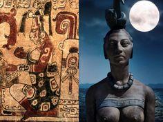 Ixchel la diosa de la luna, era una de las deidades más importantes de la cultura Maya por el poder que le confiere el astro sobre la vida de los hombres. Aztec Emperor, Peru, Mayan Glyphs, Aztec Symbols, Ancient Artefacts, Chile, Creation Myth, Film Icon, Animal Spirit Guides