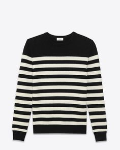 saintlaurent, CLASSIC MARINIÈRE SWEATER IN Black AND ivory STRIPED CASHMERE