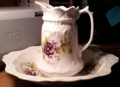 "PANSY PITCHER PURPLE 7"" TALL OLD FOLEY JAMES KENT LTD. MADE IN ENGLAND ""PANSY"""