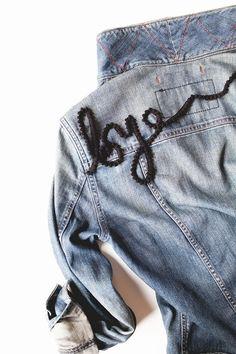 DIY Clothes Refashion : DIY appliquéd trim statement jacket
