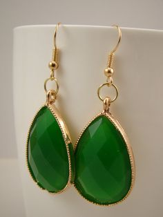 Green and Gold Drop Earrings by LeafRiverJewelry on Etsy, $10.00