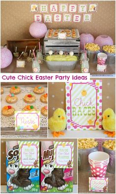 Cute Chick Easter Party Ideas - Cute Chick and Cool Dudes Party ideas with Easter printable set. Easter Party, Easter Gift, Easter Table, Easter Decor, Easter Bunny, Easter Chick, Bunny Crafts, Easter Crafts For Kids, Vintage Greeting Cards