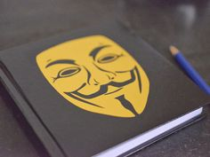 Notebook V for Vendetta mask   Square by GothChicAccessories, $14.00