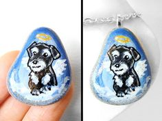 Miniature Schnauzer Pendant Art Rock Pet by rainbowofcrazy on Etsy