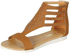 Via Pinky Womens Ayla07 Embellished Strappy Flat Sandal 6 BM US Tan ** Click image to review more details.