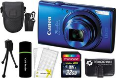 Canon PowerShot ELPH 170 IS 20.0MP Digital Camera (Blue) + 32GB Card + Reader + Case + Accessory Bundle. Kit Includes 10 Products -- All Brand New with Manufacturer supplied accessories, and Warranty:. Canon PowerShot ELPH 170 IS Digital Camera (Blue) + NB-11LH Lithium-Ion Battery Pack + CB-2LF Battery Charger + WS-800 Wrist Strap + Canon USA 1-Year Warranty (All These Included in Camera Box) + Accessory Kit:. Transcend 32 GB Class 10 200x Speed SDHC Memory Card + Card Reader + Memory…