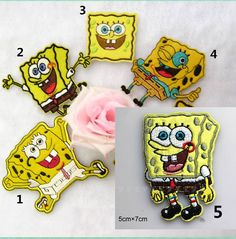 New to craftapplique on Etsy: SpongeBob Squarepants Children cute Cartoon patches embroidered patches iron on patch sew on patch (A17) (1.90 USD)