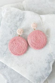 These are the loveliest round earrings ever. Large circle pendant hangs from beaded stud post back. Fabric Earrings, Pink Earrings, Fabric Jewelry, Cute Earrings, Round Earrings, Clay Jewelry, Beaded Earrings, Earrings Handmade, Jewelry Crafts