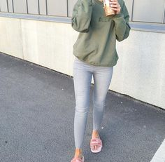 @norafash - Deck Khaki Sweatshirt styled with the Fenty Fur Slides