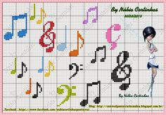 grafico ponto cruz notas musicais - Pesquisa Google