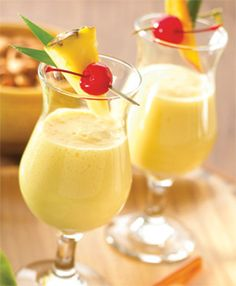 Coconut Cooler (2 cups Vanilla Almond Breeze Almondmilk 4 oz Rum 1 (10 oz) can frozen piña colada mix 1 cup fresh pineapple chunks 1 cup frozen, unsweetened mango)