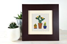 Cactus embroidery. Cactus everywhere. Collection.  Hand