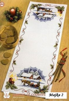 Christmas Runner, Christmas Cross, All Things Christmas, Christmas Decorations, Cross Stitching, Needlepoint, Cross Stitch Patterns, Embroidery Designs, Needlework