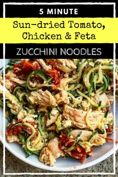 sun-dried tomato, chicken & feta zucchini noodles low calorie lunch