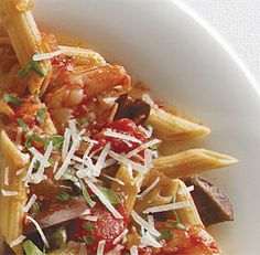Penne alla Puttanesca with Shrimp    Looks so good!  Think I will switch out the parsley for basil when I try this recipe.