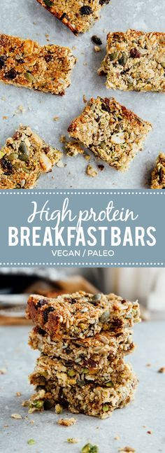 Protein Breakfast Bars (Vegan + Paleo) sub craisins for raisins and I'm in (vegan gluten free granola) Brunch Recipes, Paleo Recipes, Whole Food Recipes, Baking Recipes, Low Carb Vegan Breakfast, Breakfast Fruit, Breakfast Ideas, Breakfast Bars Healthy, Homemade Breakfast Bars