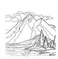 design of mountain river that flows through the meadow and forest ... - Mountain Landscape Coloring Pages