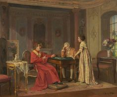 Victor Marais-Milton — A Game of Dominoes : Museum of Wigan Life, Greater Manchester. Roman Church, Art Uk, Cardinals, Catholic, Romance, Museum, Regency, Cardinal Paintings, Game