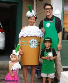 Mommy is a Starbucks barista and Scarlett is a frappuccino. Scarlett loves to take trips to Starbucks with Mommy, so we thought this would be a fun costume idea. Photo 4 of