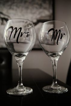 Mr & Mrs Wine Glasses. Wedding gifts for bride and groom