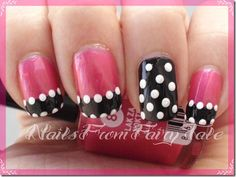 French variation Pink with Black Tips with white polka dots - easy free hand nail art