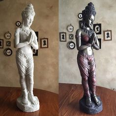 """Jenn of Murage Studios shares an amazing Before & After transformation with a """"Thai Teppanom Beautiful Being"""" statue from Design Toscano. It was painted for a client of hers using various colors from our Modern Masters Metallic Paint Collection!"""