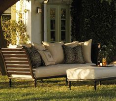 Our British Colonial Daybed captures the old-world character of antique carved mahogany, re-created in durable cast aluminum.