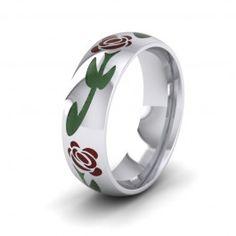 Crimson Flower Enamelled 9ct White Gold 6mm Wedding Ring