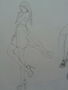 Cutout low high dress sketch...Send me some Sketches guys!!!...I want to learn.... =)