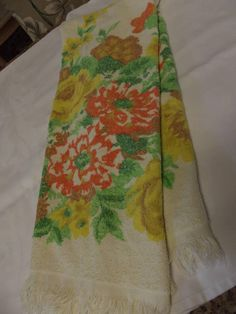 Vintage Towel  Bath Towel from the 60's  Yellow and