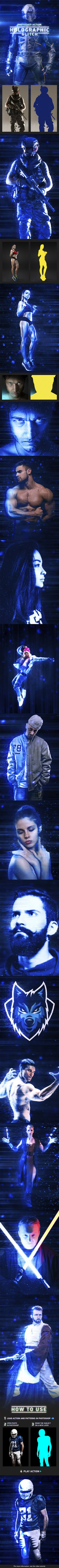 #Holographic Glitch Photoshop Action - #Photo Effects #Actions