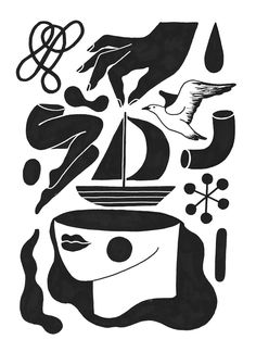 S H I P an Inktober 2017 project by Carmi Grau, an illustrator based in Berlin Illustration Arte, Graphic Design Illustration, Graphic Art, Linocut Prints, Art Prints, Arte Popular, Grafik Design, Illustrations Posters, Art Inspo