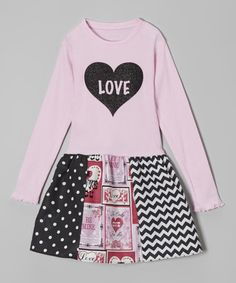Another great find on #zulily! Pink & Black 'Love' Heart Libby Ann Dress - Toddler & Girls by Beary Basics #zulilyfinds