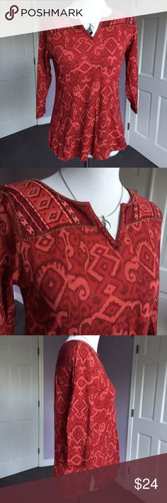 """Adorable Red Print Split-Neck Top from Lucky Brand Boho look top in shades of red and orange. Split neck, 3/4 sleeves. Center back length 25"""", shoulders 14"""", sleeves 16"""", chest laying flat 18"""". No fabric label but I think it is cotton with a touch of elastane. Very good condition. Thanks for looking! Lucky Brand Tops Tees - Long Sleeve"""