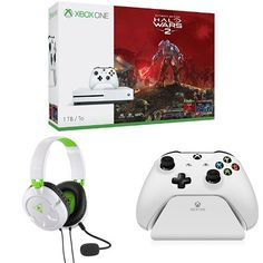 Xbox One S 1TB Console - Halo Wars 2 Bundle + Turtle Beach Recon 50X White Stereo Gaming Headset + Controller Gear White Controller Stand v2.0