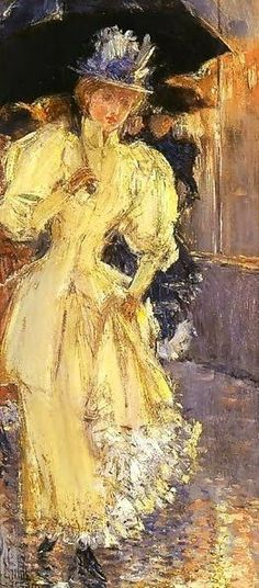 Childe Hassam (1859-1935) A Rainy Day, New York posted by Redlandspoodles.com