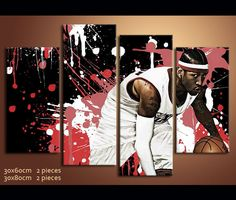 4 Pieces Canvas Art Allen Iverson Basketball Painting Wall Art Canvas | awesomever
