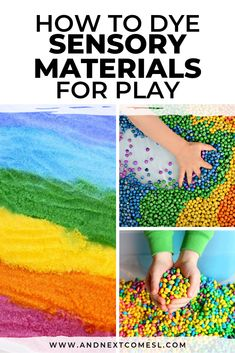 How to dye sensory materials for play and make awesome rainbow dyed sensory bins for toddlers and preschoolers Sensory Activities For Autism, Autism Resources, Sensory Play, Infant Activities, Activities For Kids, Sensory Diet, Sorting Activities, Montessori Activities, Activity Ideas