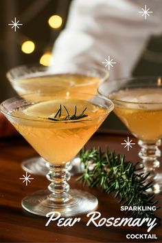 Fruit Cocktail | Sparkling Pear Cocktail with Ginger and Fresh Rosemary