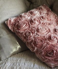 sweetpeapath:    Hand stitched cushion  Roses formed by stitching 4 metres of silk…