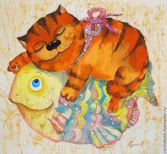 Купить Муркин сон - кот, сон, рыба, картина батик, детская, интерьер для детской, сказка