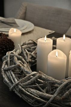 Adopt the Danish concept of hygge and bring some much needed comfort and cosiness to your home this winter. Light the fire and candles and snuggle up. Candle Lanterns, Pillar Candles, White Candles, Candle Decorations, Advent Candles, Flameless Candles, White Christmas, Christmas Time, Beach Christmas