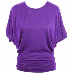 Purple Casual Jersey Knit Top With Dolman Sleeves ($14) ❤ liked on Polyvore featuring tops, purple, long tops, round top, dolman top, purple top and loose fitting tops