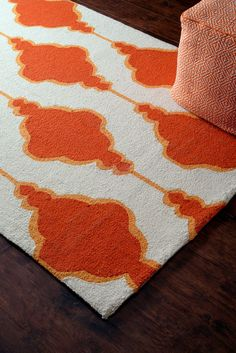 $5 Off when you share! Homespun Maia Trellis Orange Rug | Contemporary Rugs