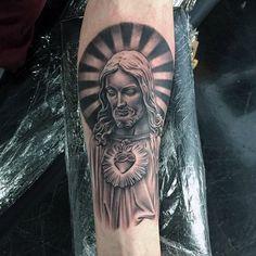 Mens Holy Spirit Jesus Tattoo On Inner Forearm