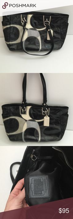 "Coach Inlaid Tote Authentic Authentic black patent Coach bag inlaid with patent and suede large C's.  Beautiful bag.  Suede C has a few dark spots on it.  Bag is otherwise in great shape.  Approximately 16"" l x 10"" h x 4"" w. From clean, smoke free home. Coach Bags"
