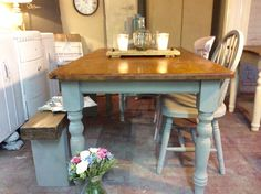 Gorgeous vintage solid pine farmhouse cottage table, ready for your spring and a…