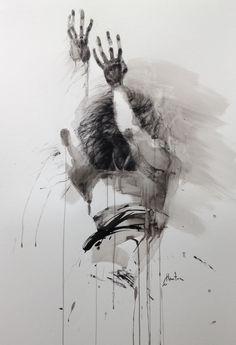ombre - Peinture, 70x100 cm ©2016 par Ewa Hauton - Peinture contemporaine, encre de chine, peinture sur papier, ink painting, drawing