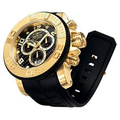 Men's Wrist Watches - Invicta Mens 0415 Pro Diver Collection Sea Hunter Chronograph Black Polyurethane Watch *** Check this awesome product by going to the link at the image.